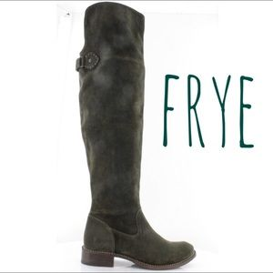 Frye Shirley Over The Knee Boots Dark Green Suede